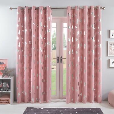 curtains - Dreamscene Unicorn Blackout Ready Made Curtains Pair Eyelet Kids Girl Pink Blush