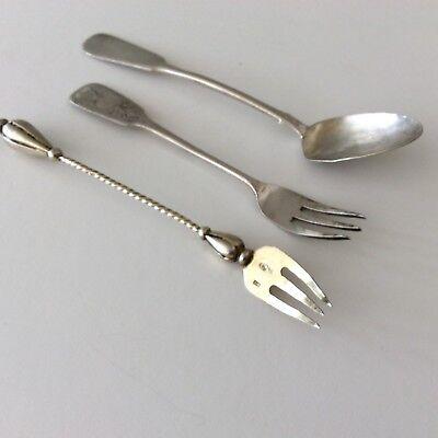 Russian 84 Silver Spoon 2 Forks Collection Lot Fully Hallmarked Kokoshnik