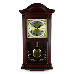 22 BEDFORD COLLECTION MAHOGANY CHERRY OAK FINISH WALL CLOCK w/ PENDULUM & CHIME