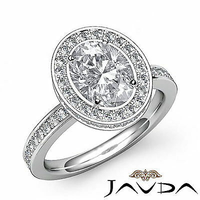 Crown Halo Pave Set Oval Cut Diamond Engagement Ring GIA Certified F VS2 1.82Ct