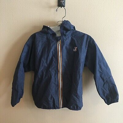 K-Way kids windbreaker jacket coat shell. Navy blue. Packable, lightweight. KIDS