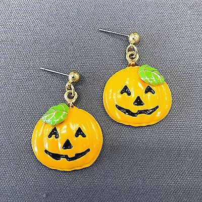 Gold Finished Happy Halloween Pumpkin Design Shape Drop Dangle Post - Happy Halloween Pumpkin Design