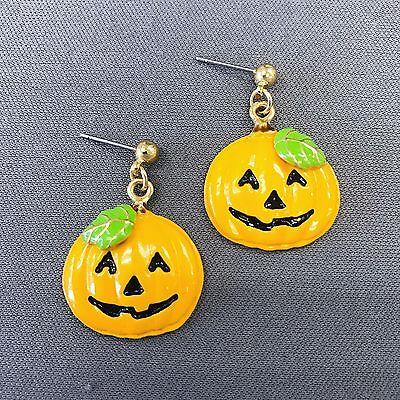 Happy Post Halloween (Gold Finished Happy Halloween Pumpkin Design Shape Drop Dangle Post)