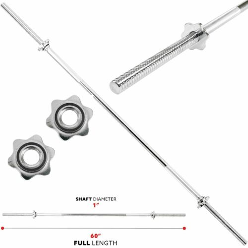 """Fitness Weight Barbell Bar 1"""" Diameter Threaded Chrome Lifting Exercise Workout"""