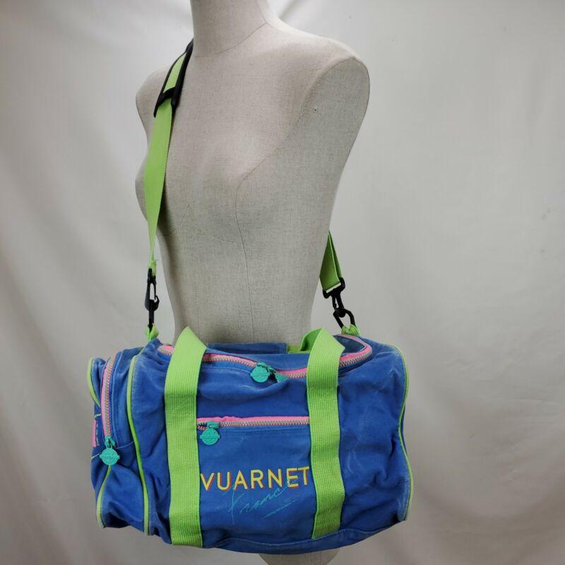 Vintage Vaurnet France Duffle Gym Dance Bag Blue Pink Neon Shoulder Tote Workout