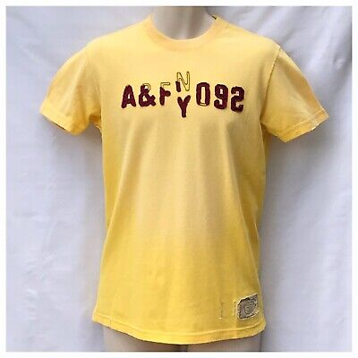 Abercrombie And Fitch Vintage Muscle Mens Yellow T-Shirt Size S Short Sleeve
