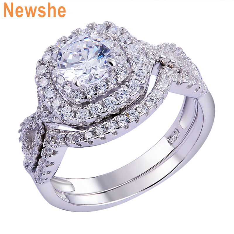 Newshe Wedding Engagement Ring Set For Women Sterling Silver 1.8ct Round Aaaa Cz