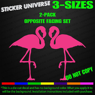 Pair of Pink Flamingos Left & Right Facing Funny Car Window Decal Sticker 0131