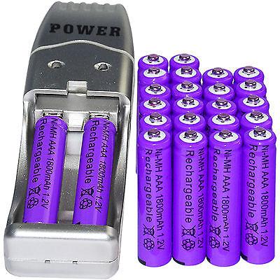 24x AAA 3A 1800mAh 1.2 V Ni-MH Rechargeable Battery Purple + AA AAA USB Charger