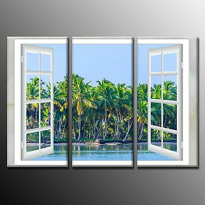 FRAMED Wall Art Beach Coconut Trees Outside Window Painting on Canvas Print-3pcs Beach Outdoor Canvas Painting