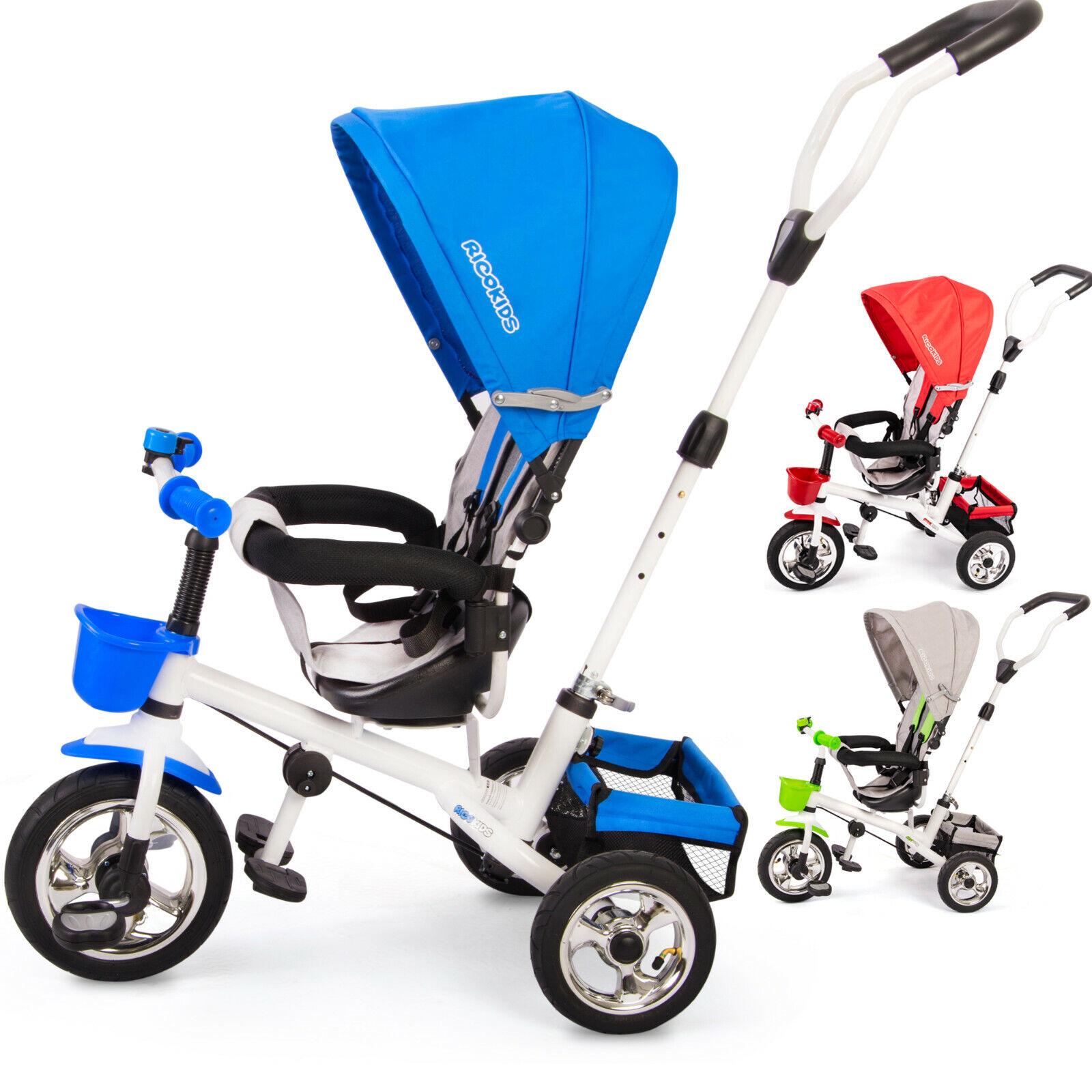 Dreirad Fahrrad Kinderwagen für Kinder mit Sonnendach Ricokids blau grau rot