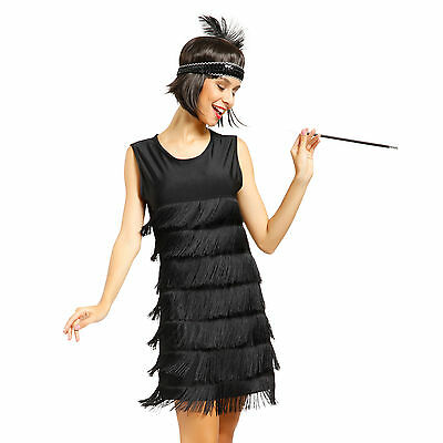 Flapper Women Dancing Dress Roaring 20s Gatsby Charleston Carnival Costume Black (Roaring 20s Dress)