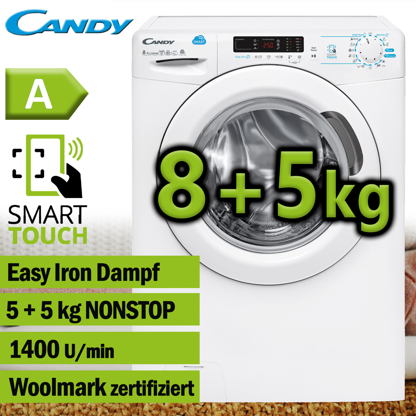 Waschtrockner Waschmaschine Wäschetrockner Trockner 8+5kg Dampf NFC Candy Hoover