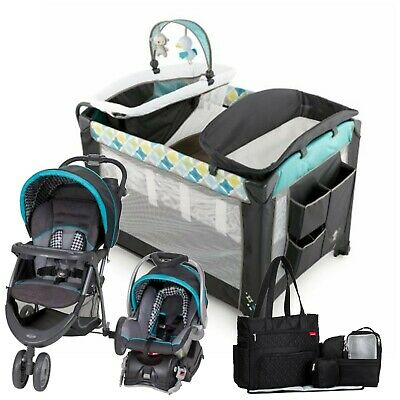 Baby Trend Stroller Car Seat Travel System with Playard Diaper Bag Combo Set