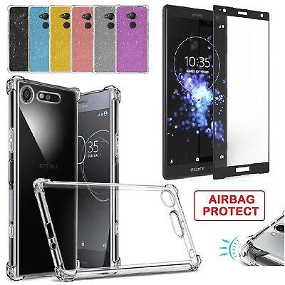Tempered Glass Screen Protector + Air Gel Case Cover for Sony Xperia XA1 XA2 XZ2