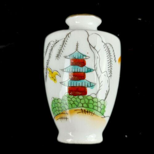 "Vintage Japan Miniature Porcelain Vase Doll house Handpainted 2.5"" Tall"