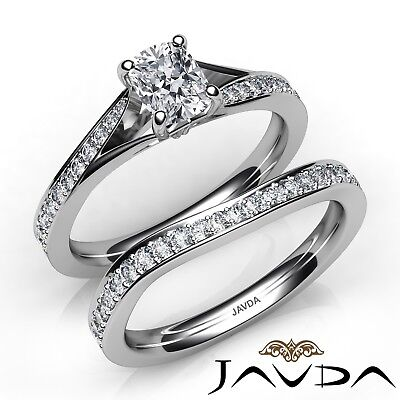 1.6ctw Pave Classic Bridal Cushion Diamond Engagement Ring GIA E-VVS2 White Gold