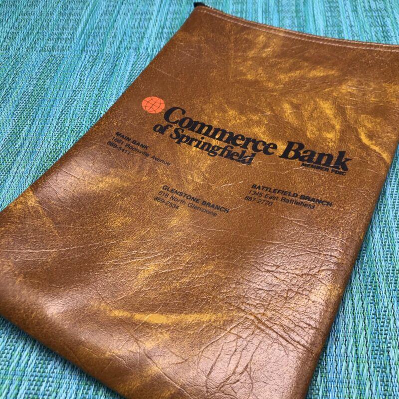 Vtg Money Cash Deposit Bag Commerce Bank Springfield MO Brown w Metal Zipper