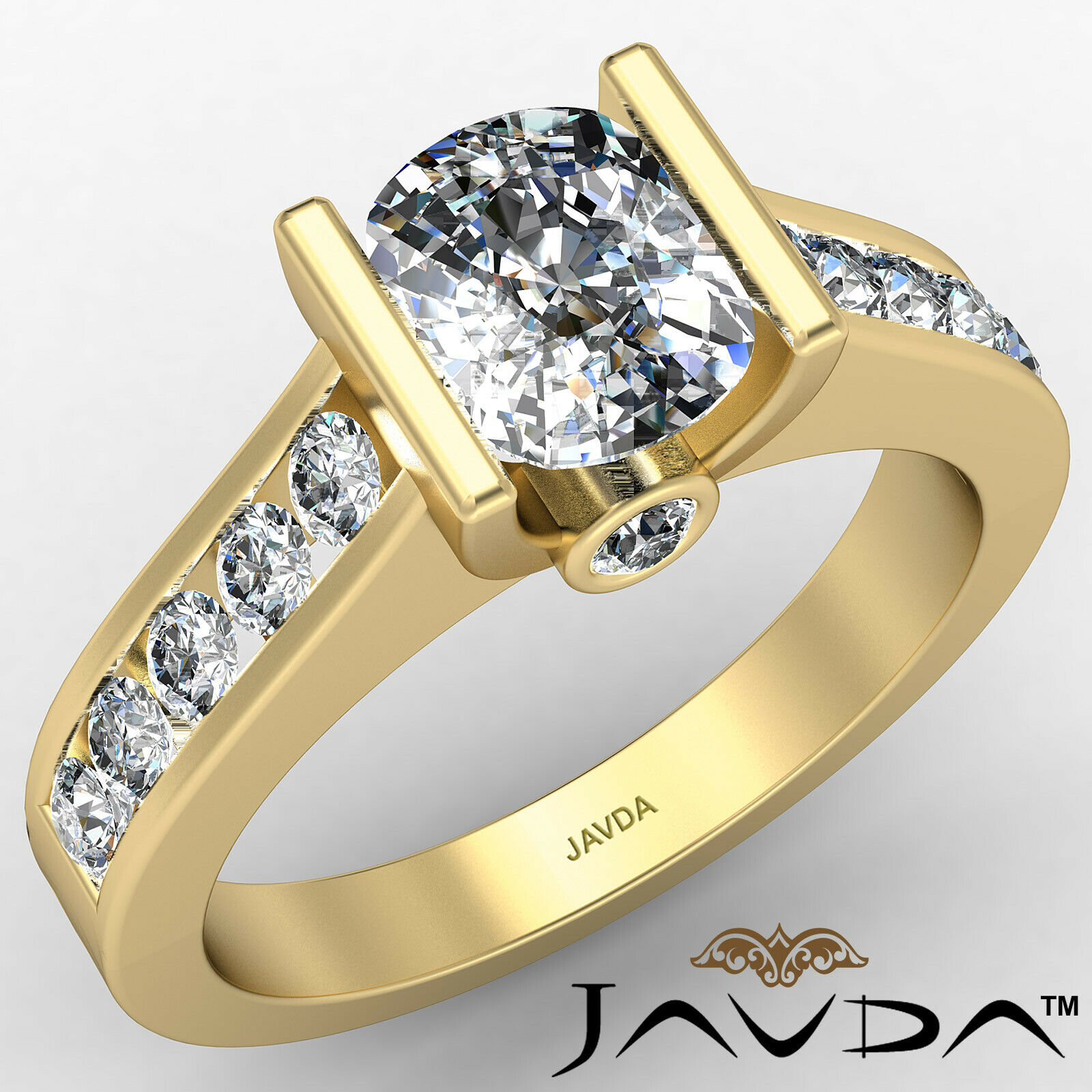Bezel Cushion Diamond Engagement Women's Ring GIA, J Color SI1 clarity 1.53 ctw. 1