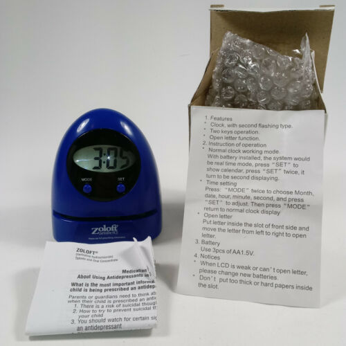 NEW Drug Rep Promo ZOLOFT Time/Date Desk Clock Letter Opener