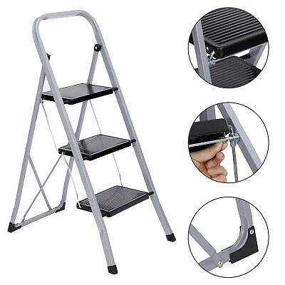 3 Steps Ladder Folding Anti-slip Safety Tread Industrial Home Use 300lbs Load