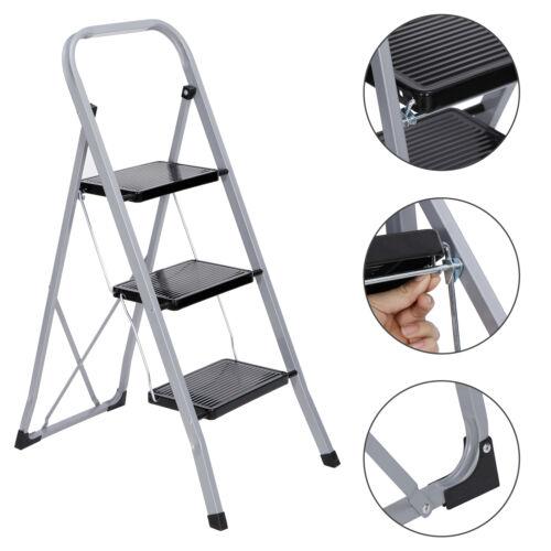 3 Step Ladder Folding Steel Step Stool Anti-slip 300Lbs Capacity Silver Black Home & Garden