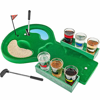 Table Golf Shot Glass Drinking Game Set – Game Night College Party Gag Gift Barware