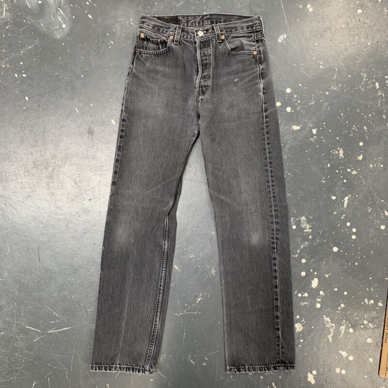 27x30 Levis 501 Black Jeans Vtg 90s USA Faded Distressed