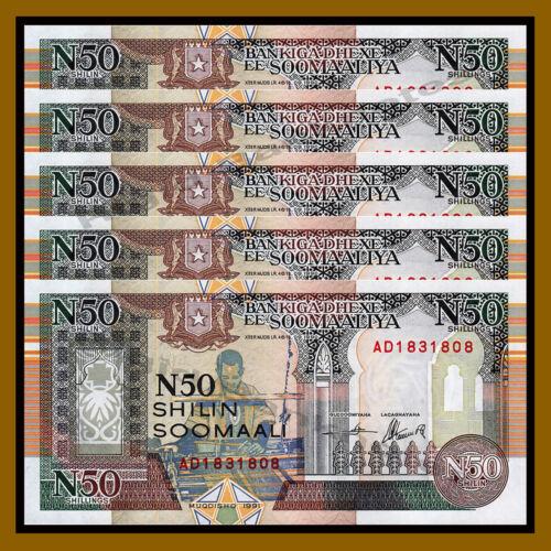 Somalia 50 (N50) Shillings (Shilin) x 5 Pcs, 1991 P-R2 Unc