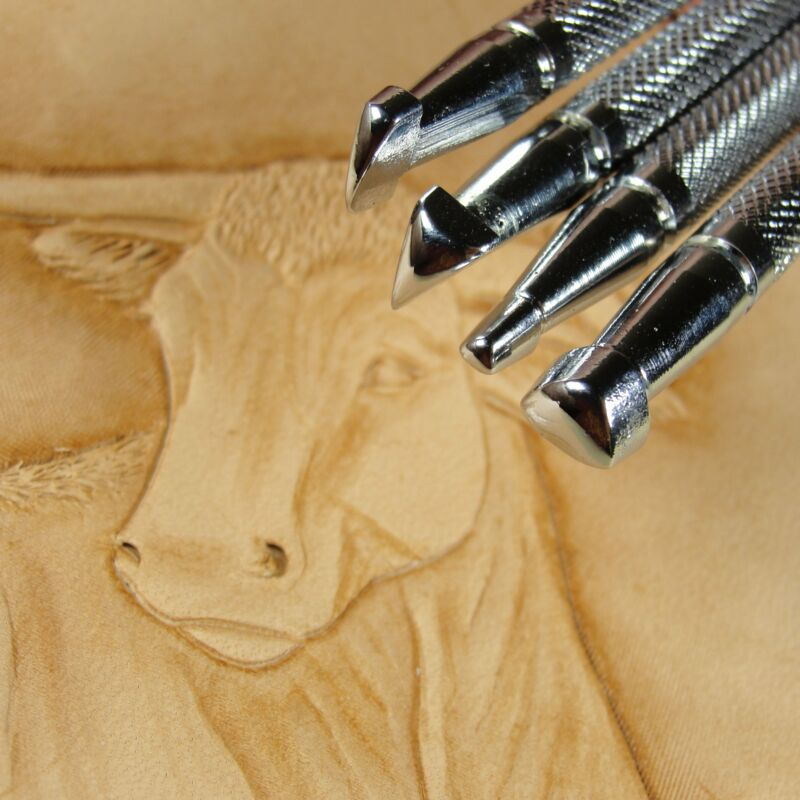 Japan Select - Figure Carving Stamps (4-Piece Set, Leather Stamping Tools)