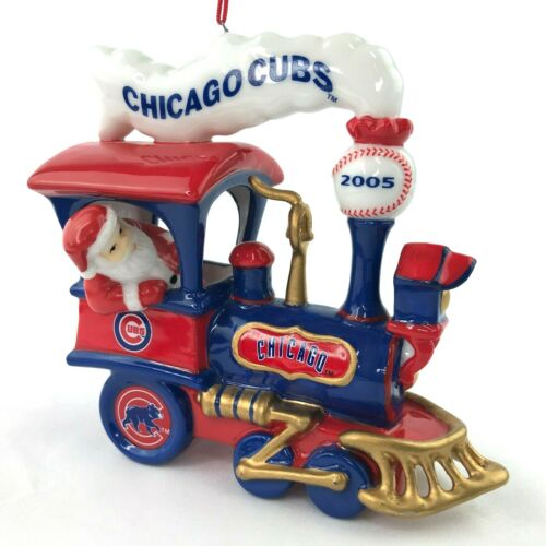 2005 Danbury Mint Chicago Cubs Baseball Train Santa Christmas Ornament
