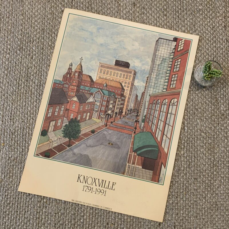 VTG Knoxville Tennessee Main Street Chamber Of Commerce 1791-1991 Art Print 90s