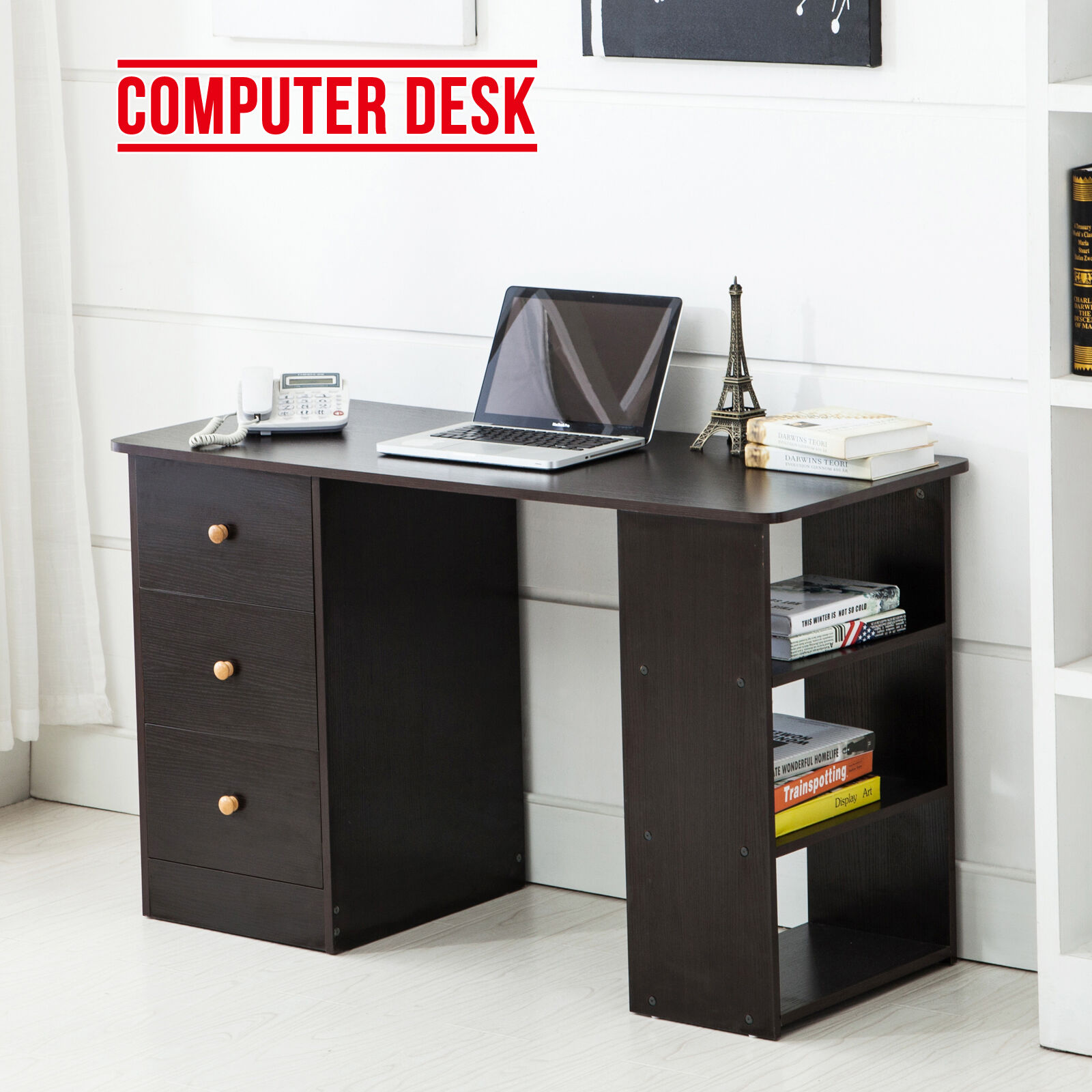Bn corner computer desk home office pc table workstation furniture w 3 drawers ebay Home office furniture corner desk uk