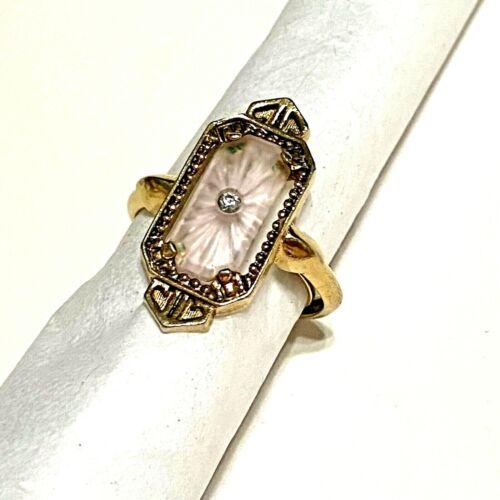 Vtg AVON Blush Pink Camphor Starburst Art Deco Ring, Gold Tone, ADJ 7-8, 1970's
