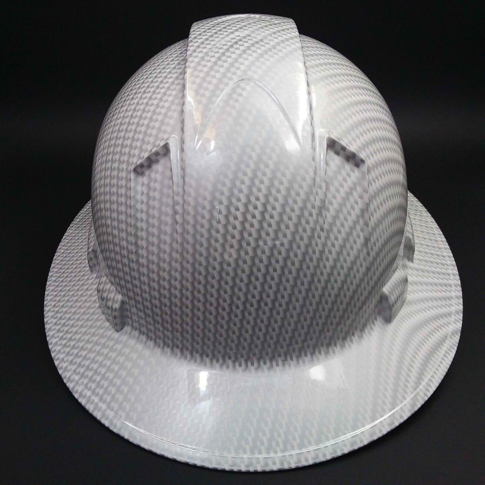 FULL BRIM Hard Hat custom hydro dipped , NEW WHITE CARBON FIBER HOT NEW HYDRO 4