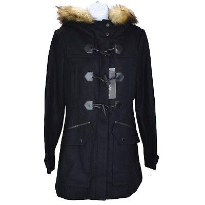 Andrew Marc New York Womens Fur Hooded Wool Coat Sz 8 Black Zip Toggle Close NWT Marc New York Toggle Coat