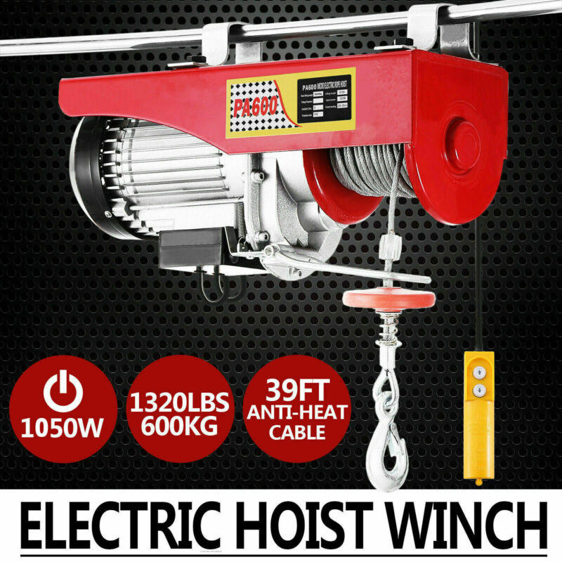 660/1320LB Electric Hoist Crane Lift Overhead Garage Winch w/ Remote 110V USPlug