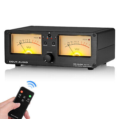 Dual Analog Vu Meter 2-way Amplifierspeaker Audio Switcher Box Db Panel Display