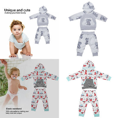 Newborn Baby Girls Sloth Stripe Pocket Long Sleeve Hoodie Tops+Pants Outfit - Sloth Outfit