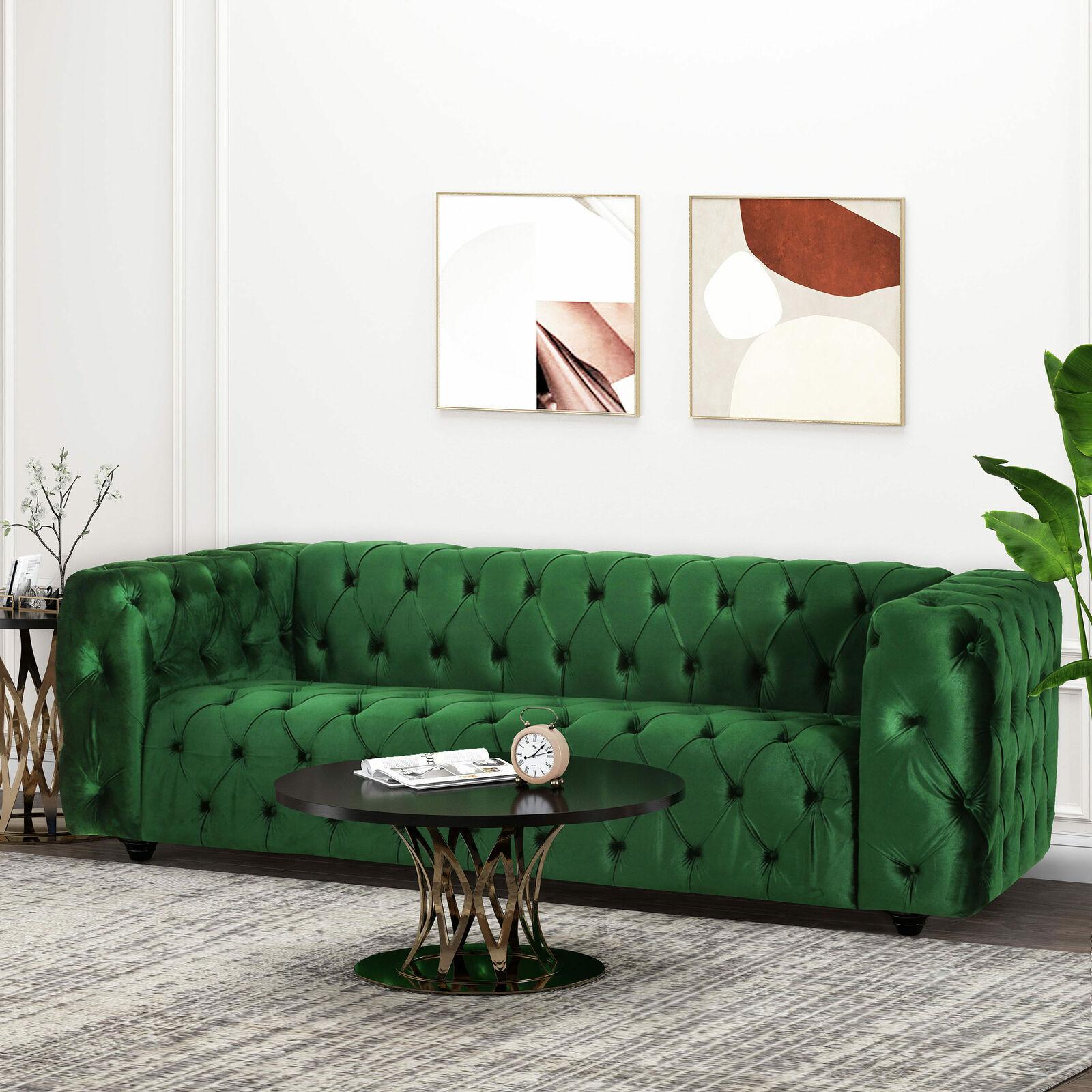 Marengo Contemporary Velvet Tufted 3 Seater Sofa Furniture