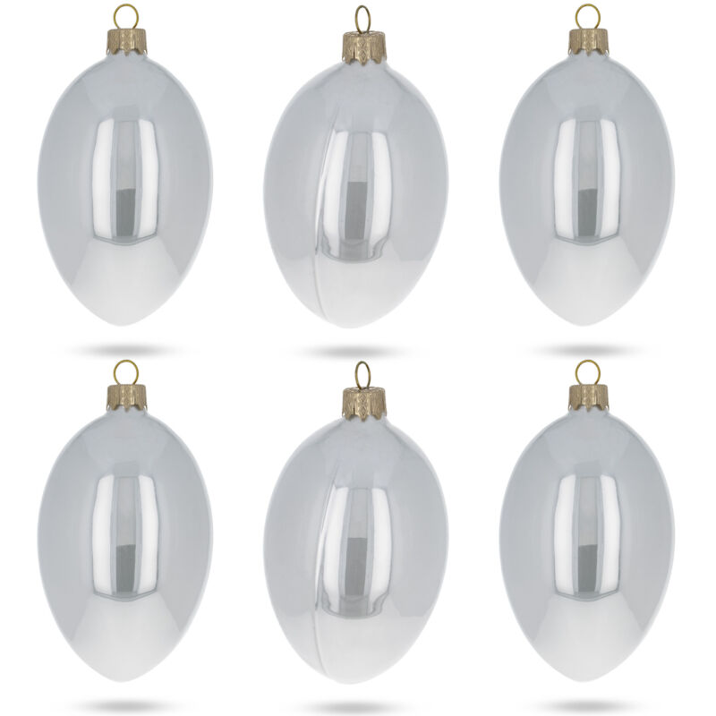 Set of 6 White Glossy Glass Egg Ornaments 4 Inches
