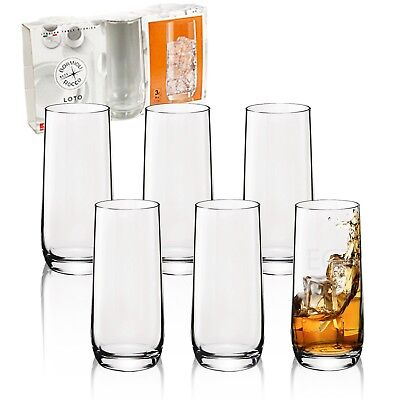 - 3 or 6 Bormioli Rocco Loto 350ml Tall Tumber Hi Ball Drinking Juice Glasses Cup