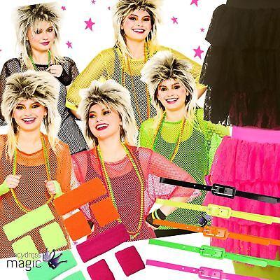 Eighties Outfit (Ladies Womens 1980s 80s Eighties Neon Dance Hen Fancy Dress Outfit Accessory)