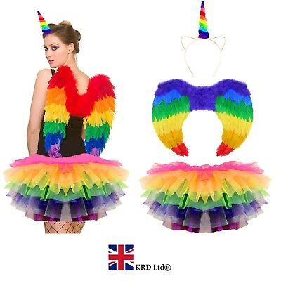 RAINBOW UNICORN TUTU COSTUME Ladies Kids Halloween Dash Pony Horn Fancy Dress UK