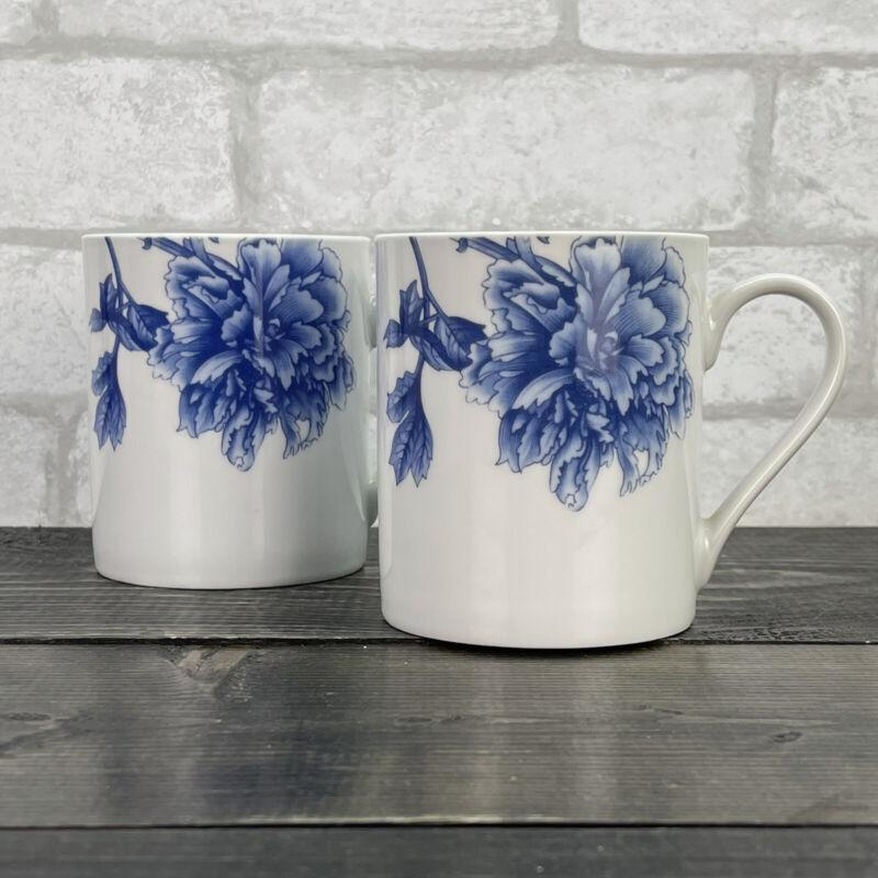 spode BLUE PEONY Portmerion mugs set of 2 blue flowers 12oz