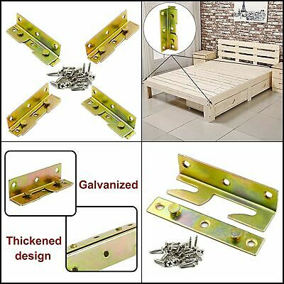 4 Set Iron Hanging Code Heavy Duty Bed Pendant Wood Bed Rail Bracket with Screws Iron Bed Set