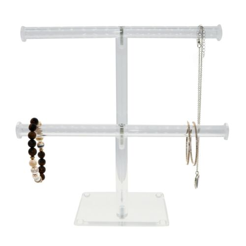 2 Tier Acrylic Necklace Holder, Clear Bracelet Display Jewelry Stand