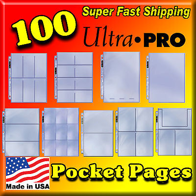 100 ULTRA PRO POCKET STORAGE PAGES ACID FREE ARCHIVE SAFE PHOTOS CARDS 4COUPONS