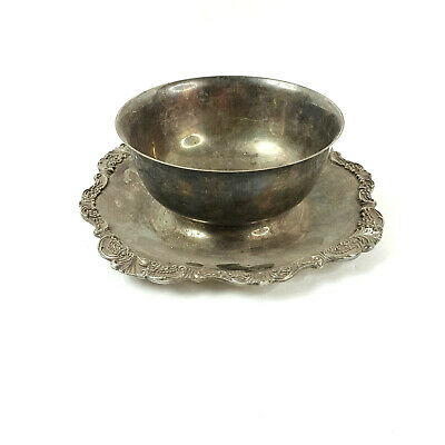 Wallace Baroque Silver Plate Sauce/Gravy Bowl w/Attached Under-plate 247  Silverplate-sauce