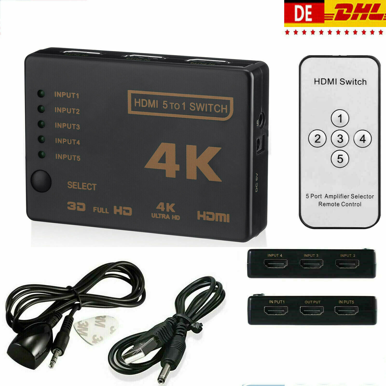 5 in 1 HDMI Splitter Switch Adapter Umschalter Verteiler 4K Ultra HD HDCP 3D HDR